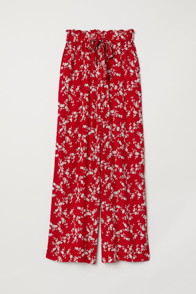 Wide trousers - Red/Floral - Ladies | H&M