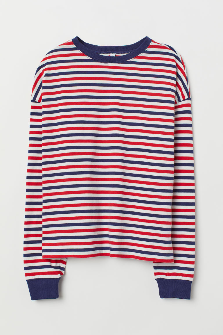 Striped jersey top - Red/Striped -  | H&M