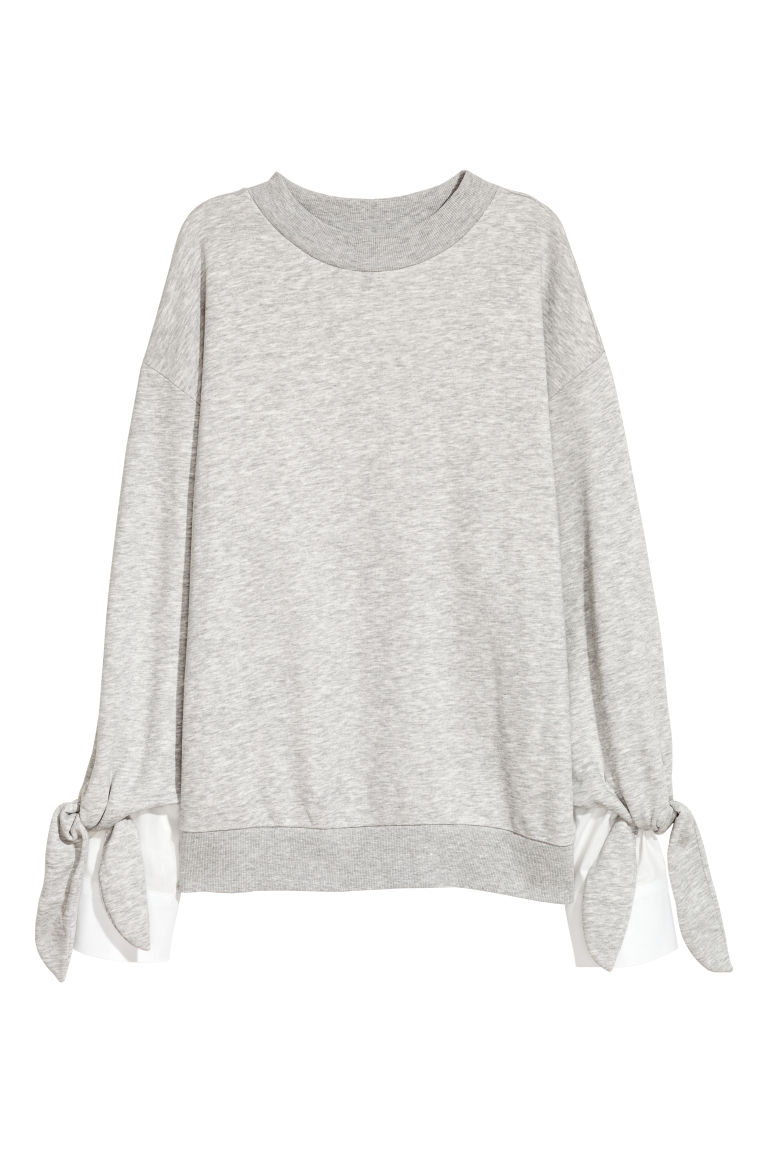 Sweatshirt with a ties - Light grey marl - Ladies | H&M
