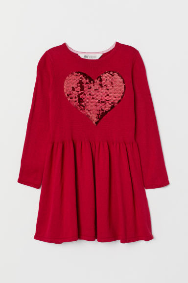 Dress with a sequined motif - Red/Heart - Kids | H&M