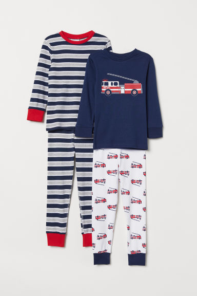 2-pack pyjamas - Dark blue/Fire engine - Kids | H&M CN