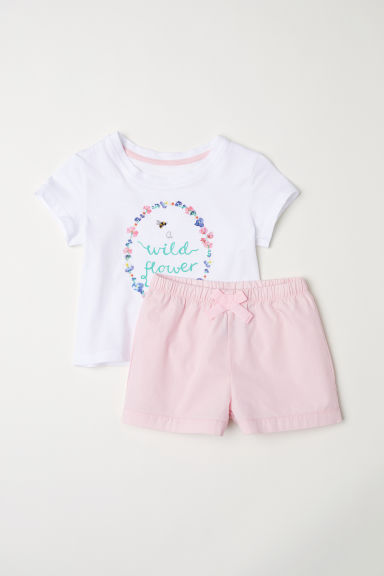 Pyjama top and shorts - White/Pink -  | H&M CN