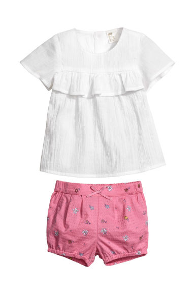 Cotton blouse and shorts - White/Pink - Kids | H&M