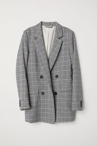 Double-breasted jacket - Natural white/Black checked - Ladies | H&M CN