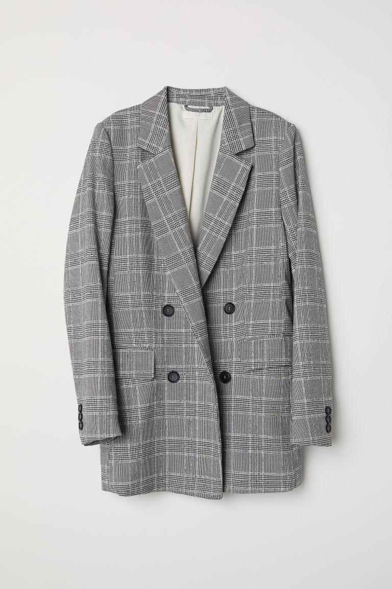 Double-breasted Jacket - Natural white/black checked - Ladies | H&M CA
