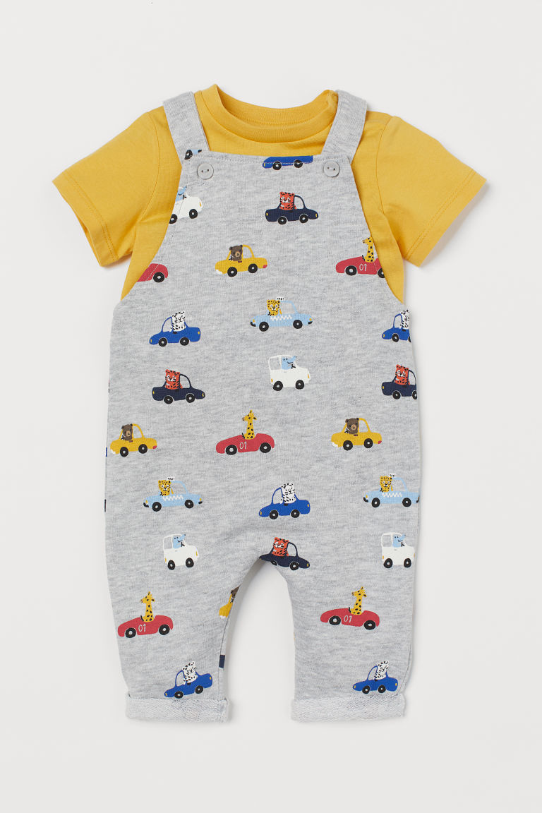 T-shirt and dungarees - Yellow/Cars - Kids | H&M GB
