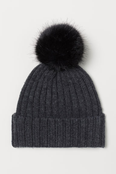 Ribbed hat - Dark grey marl - Ladies | H&M CN