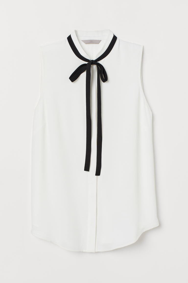 Crêpe blouse - White/Black - Ladies | H&M CN
