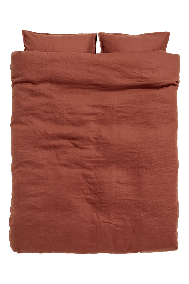 Washed Linen Duvet Cover Set Rust Home All Hm Us