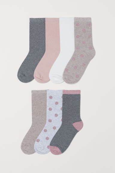 7-pack socks - Grey/Spotted - Ladies | H&M CN