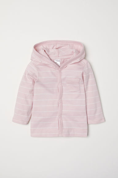 Jersey hooded cardigan - Light pink/Striped - Kids | H&M