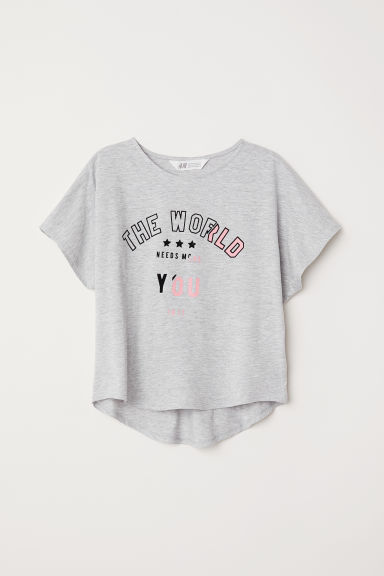 Wide top - Light grey/The World -  | H&M