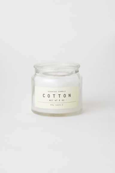 Scented candle in glass holder - White/Cotton - Home All | H&M IE