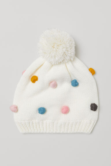 Knitted hat - Natural white/Pompoms -  | H&M