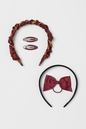 H&M 키즈 해리포터 5팩 헤어 악세서리 (머리띠, 머리끈) Hair Accessories,Dark red
