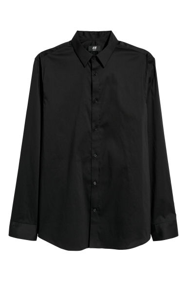 Stretch shirt Slim fit - Black -  | H&M CN