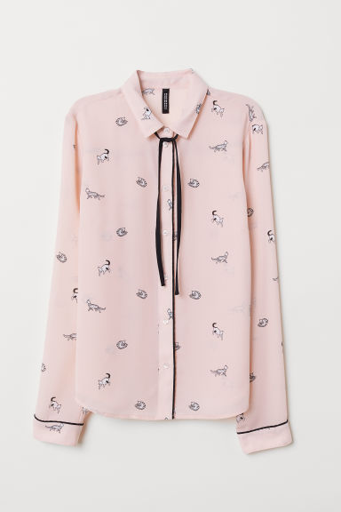 Blouse with ties - Light pink/Cats -  | H&M