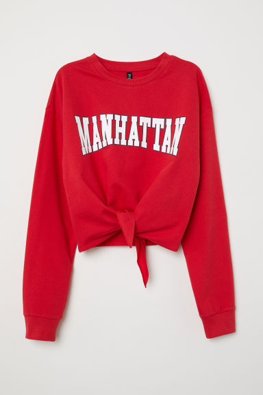 Sweater met geknoopt detail - Rood/Manhattan - DAMES | H&M BE