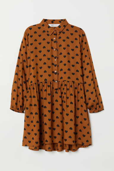 Shirt dress - Brown/Heart pattern - Kids | H&M