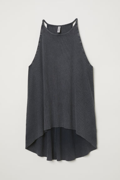 Ribbed jersey vest top - Dark grey - Ladies | H&M