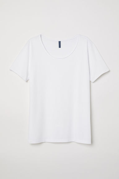 T-shirt with a deep neckline - White - Men | H&M