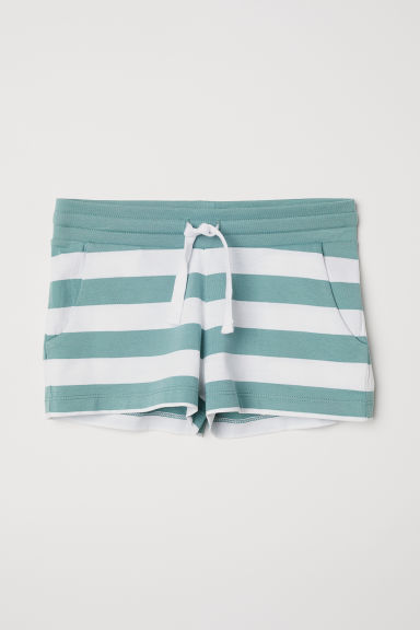 Short jersey shorts - Green/White striped - Kids | H&M