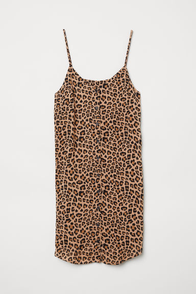 Dress with buttons - Beige/Leopard print -  | H&M CN