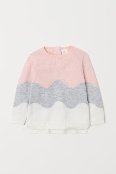 Fine-knit jumper - Light pink/Block-coloured - Kids | H&M