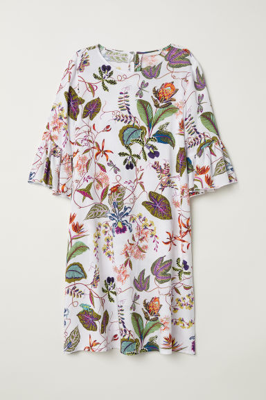 Flounce-sleeved dress - White/Floral - Ladies | H&M CN