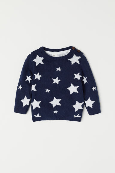 Jacquard-knit jumper - Dark blue/Stars - Kids | H&M