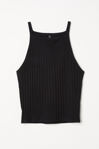 Ribbed strappy top - Black - Ladies | H&M