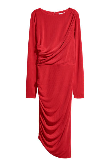 Draped dress - Bright red - Ladies | H&M
