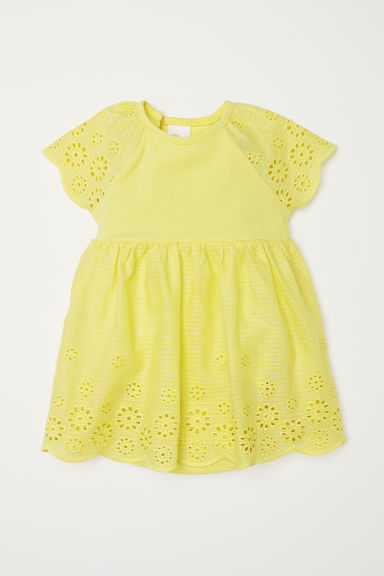 Dress with broderie anglaise - Light yellow - Kids | H&M CN