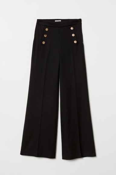Wide trousers - Black - Ladies | H&M