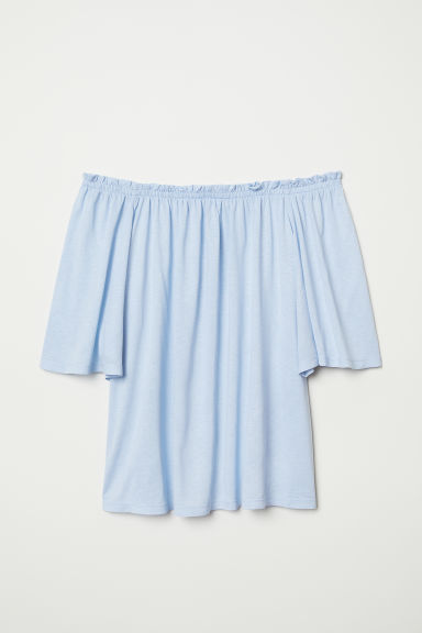 Off-the-shoulder top - Light blue - Ladies | H&M