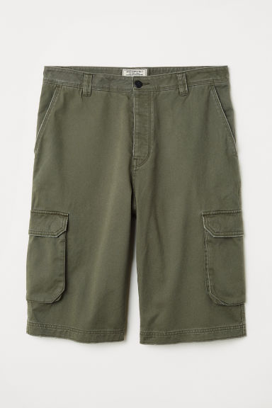 Cotton cargo shorts - Khaki green - Men | H&M CN