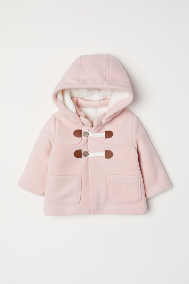 Pile-lined duffle coat - Powder pink - Kids | H&M