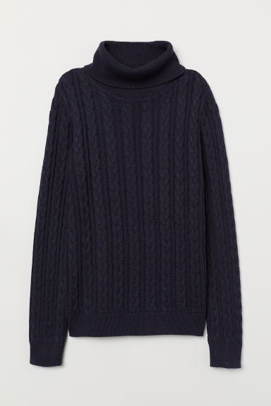 Cable-knit polo-neck jumper - Dark blue - Ladies | H&M CN