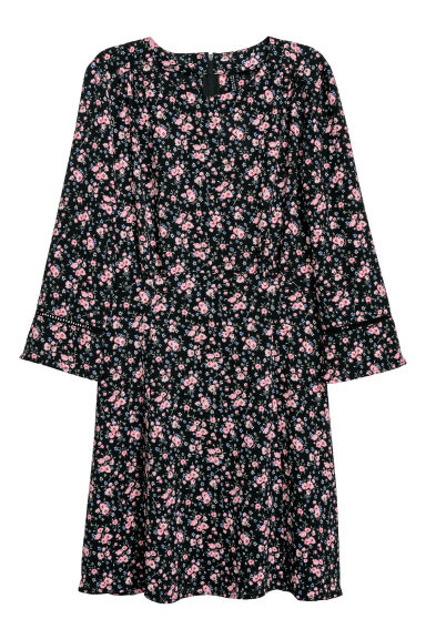 Crêpe dress - Black/Pink floral -  | H&M