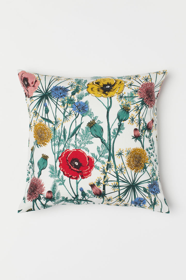 Patterned cushion cover - White/Floral - Home All | H&M CN