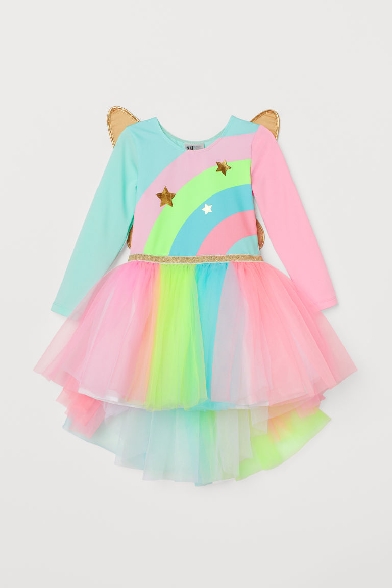 Leotard with a tulle skirt - Pink/Multicoloured - Kids | H&M