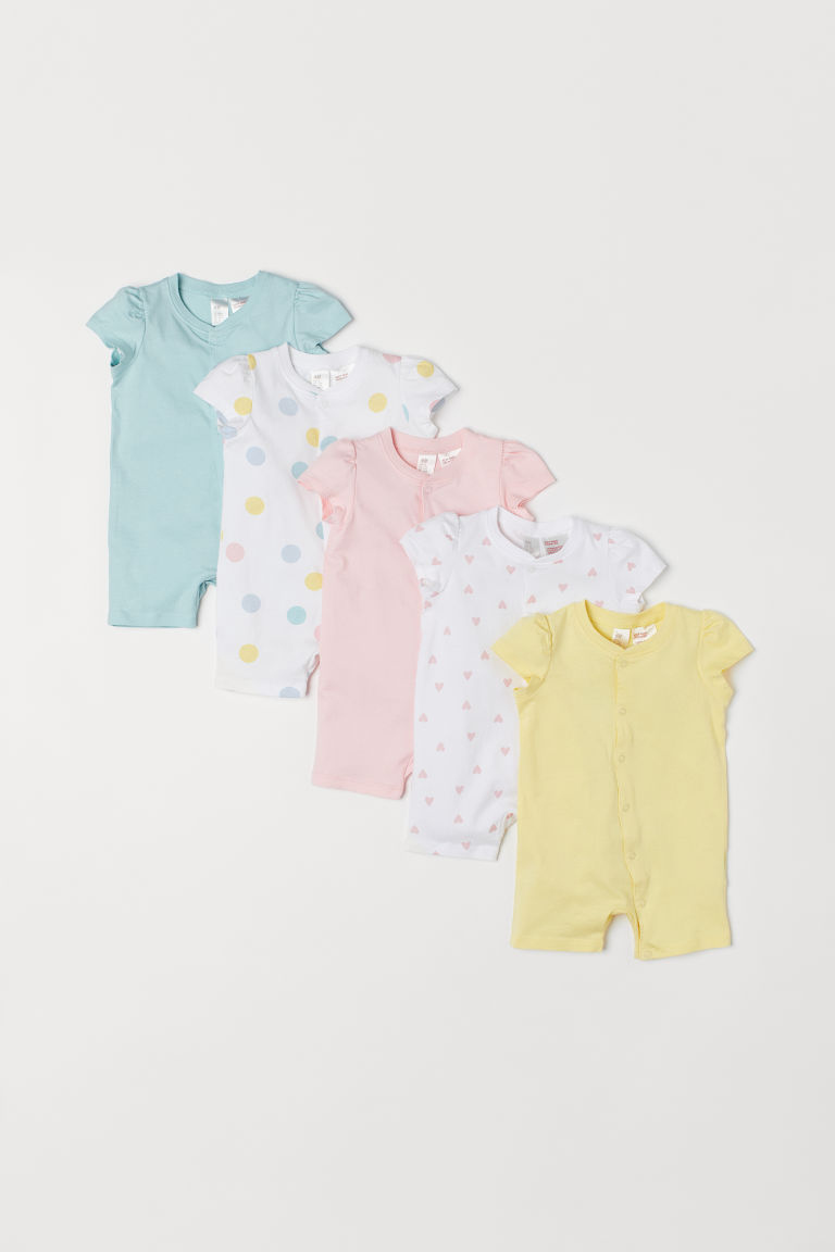 5-pack jersey pyjamas - Light pink/Hearts - Kids | H&M
