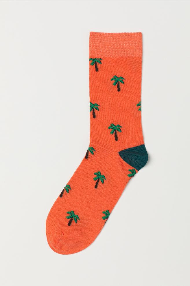 b2561138a88 Chaussettes à motif jacquard - Orange fluo palmiers - HOMME
