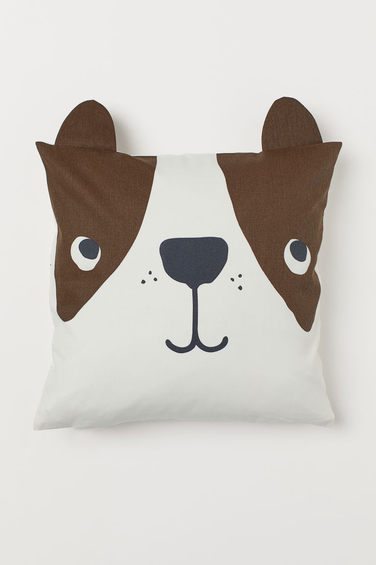 Cotton Twill Cushion Cover - Dark brown/dog - Home All | H&M CA