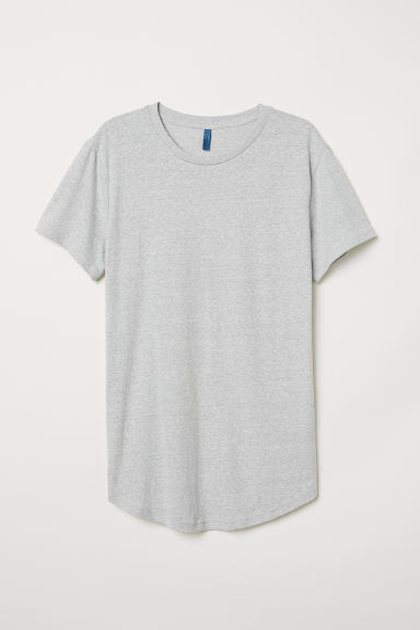 T-Shirt Long Fit - Hellgraumeliert - Men | H&M DE