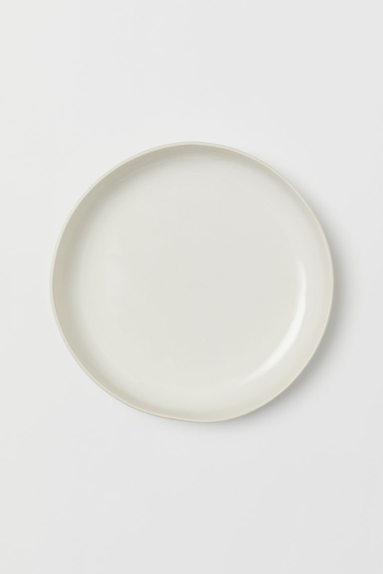Glazed stoneware plate - Natural white/Shiny - Home All | H&M IE