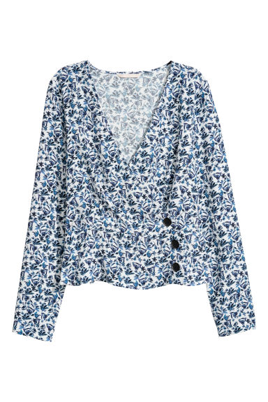 Patterned wrapover blouse - White/Blue floral -  | H&M CN
