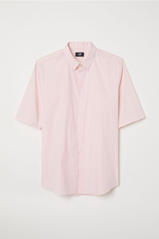 f71cb42b4 Cotton Shirt Muscle Fit - Light pink - Men | H&M 1