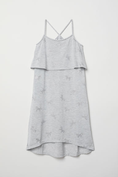 Dress with braided straps - Grey marl/Horses - Kids | H&M