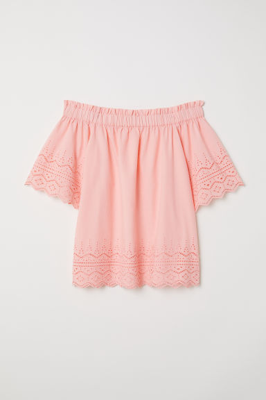 Cotton blouse with embroidery - Apricot - Ladies | H&M CN